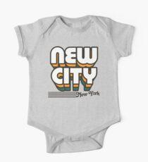 Body de manga corta para bebé New City, Nueva York | Rayas retro
