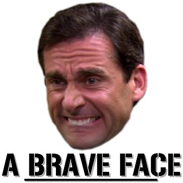Michael Scott Funny - Brave Face - The Office - Sticker by sbaldesco
