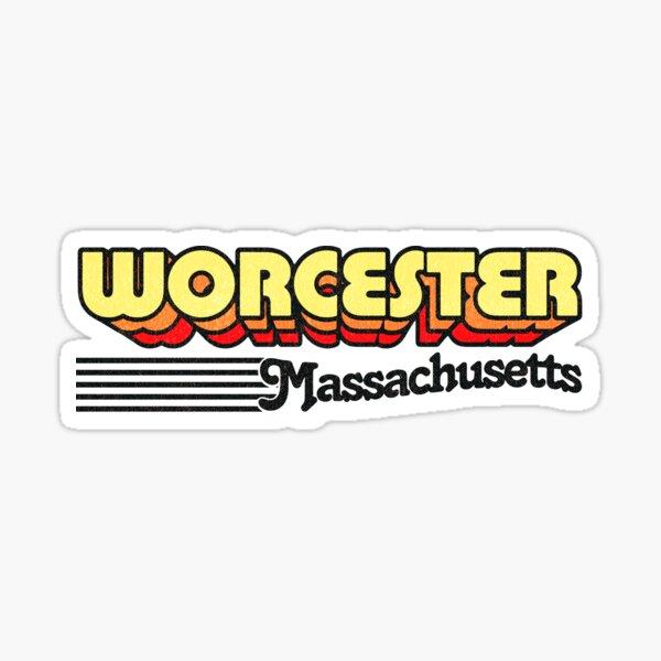 Worcester, Massachusetts   Retro Stripes Sticker