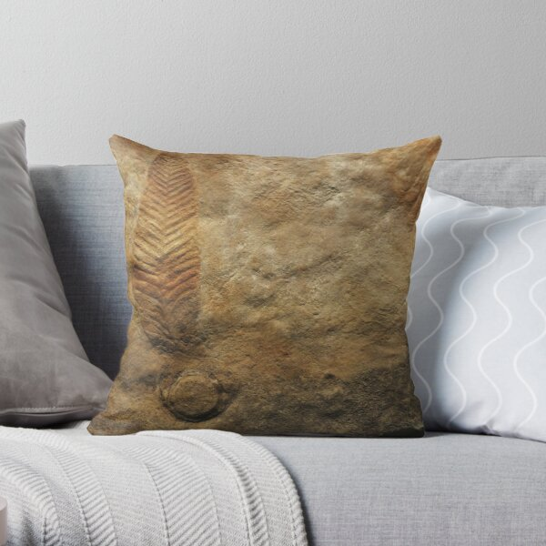 Fossil feather Throw Pillow