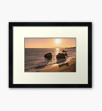 Slow Sunset - Soft Pink Glow and Ocean Whispers  Framed Print
