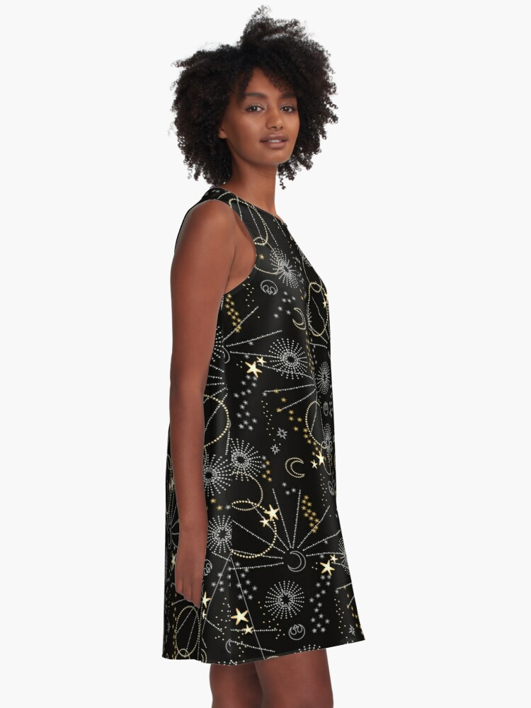 Alternate view of Galactic Pattern A-Line Dress