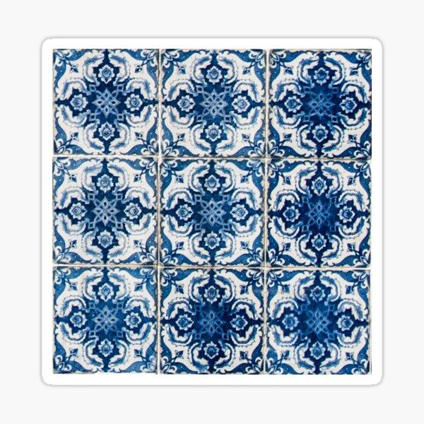 Blue and White Geometrical Azulejo Tiles Sticker
