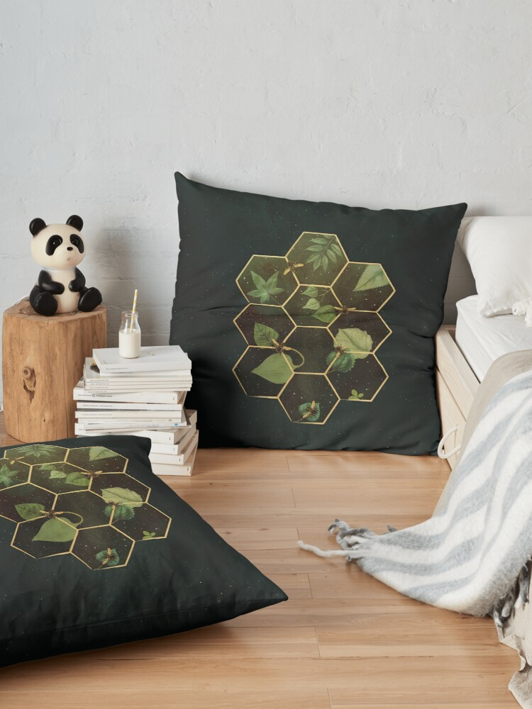 Alternate view of Bees in Space Floor Pillow