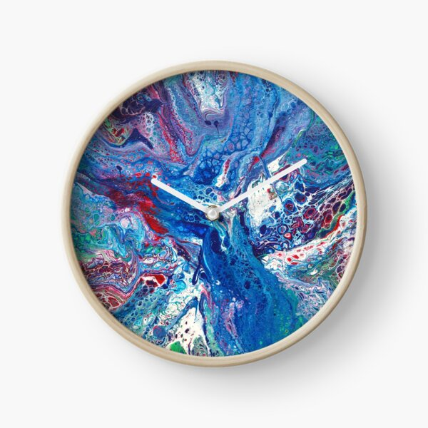 Blue Fluid Art Painting Clock