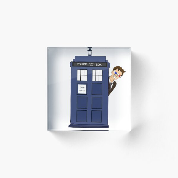 10th Doctor in the TARDIS Acrylic Block