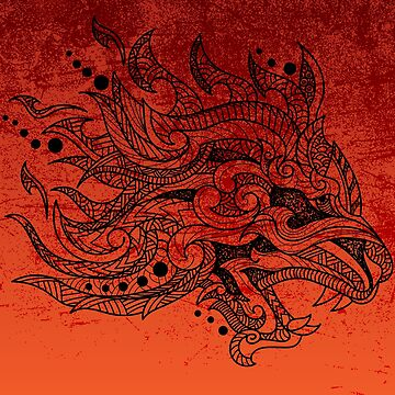 Hand drawn Tribal Dragonhead by NomadicMarket