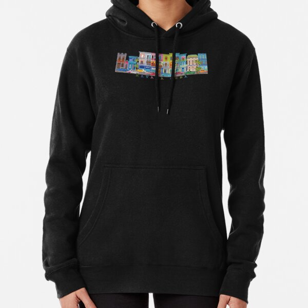 Havana, Cuba - Colorful Street Scene Illustration Pullover Hoodie