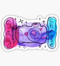 Watercolor Camera Say Cheese Sticker