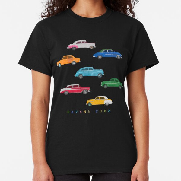Havana, Cuba - Vintage Cars Illustration Classic T-Shirt