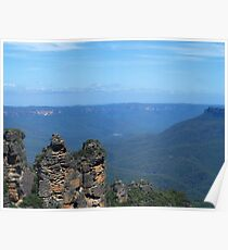 Three Sisters on Blue Poster