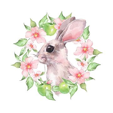 Rabbit and flowers by Gribanessa