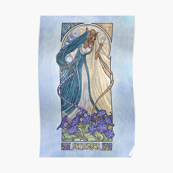 Lady of September with Sapphire and Morning Glories Celestial Moon and Sun Goddess Mucha Inspired Birthstone Series Poster