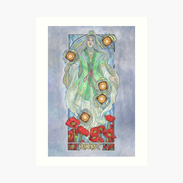 Lady of August with Peridot and Poppies Floating Obon Lanterns Water Goddess Mucha Inspired Birthstone Series Art Print