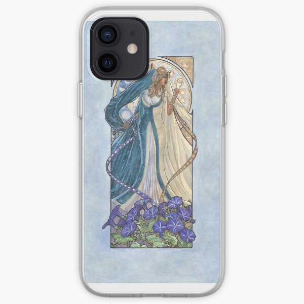 Lady of September with Sapphire and Morning Glories Celestial Moon and Sun Goddess Mucha Inspired Birthstone Series iPhone Soft Case