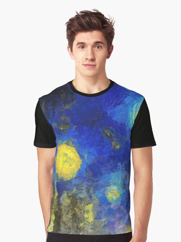 Trees in starry sky Van Gogh Monet Cézanne Graphic T-Shirt Front