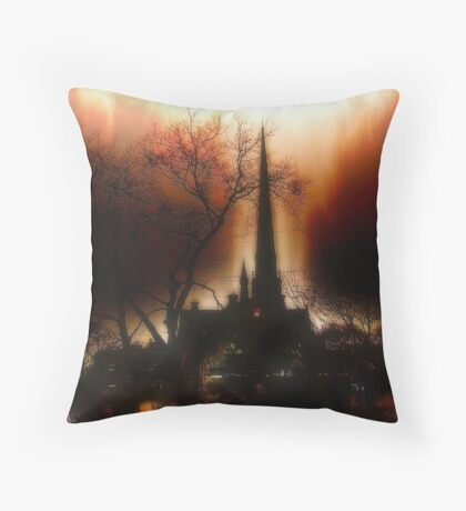 Burning Church Throw Pillow
