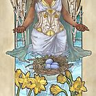 Lady of March with Daffodils and Birch Trees Easter Resurrection Maiden Mucha Inspired Birthstone Series by angelasasser