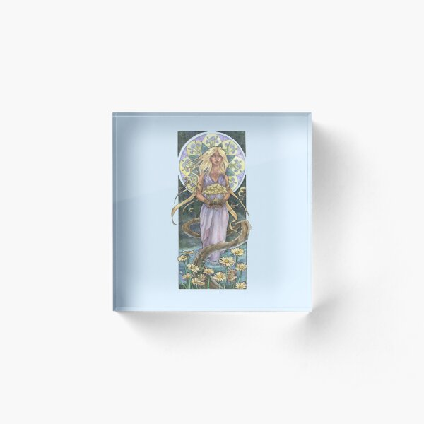 Lady of April with Bonsai and Daisies Mucha Inspired Birthstone Series Acrylic Block