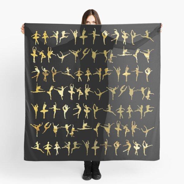 Dance poses silhouette pattern / texture (liquid gold) - ballerina - dance lover, ballet lover gift idea Scarf