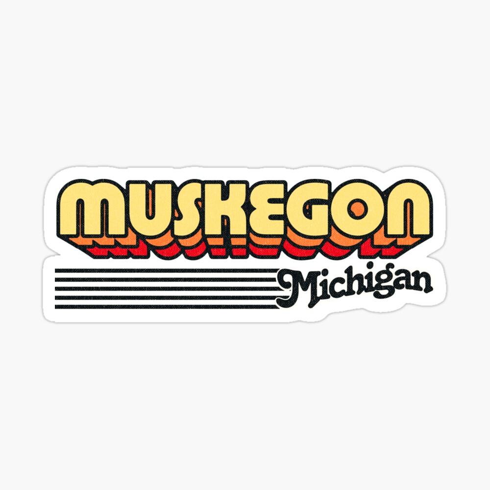 Muskegon, Michigan   Retro Stripes Sticker