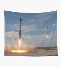 Spacex Falcon Heavy Side Boosters Landing Wall Tapestry