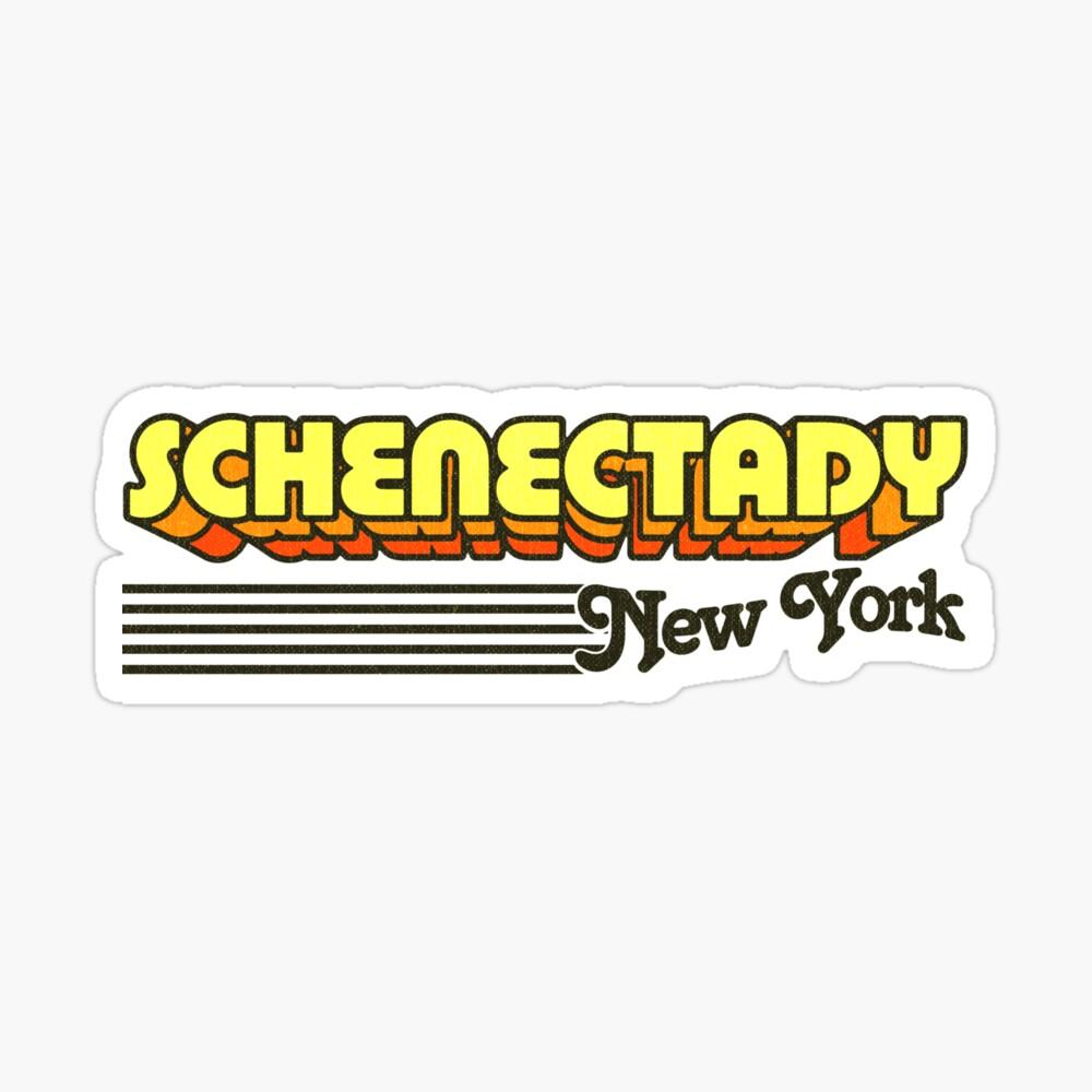 Schenectady, New York | Retro Stripes Sticker