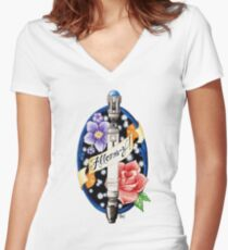 Allons-y! Women's Fitted V-Neck T-Shirt