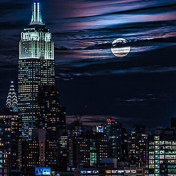 Blue Moon Rising Over Midtown Manhattan by ChrisLord