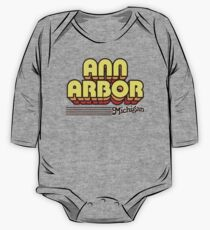 Ann Arbor, Michigan | Retro Stripes One Piece - Long Sleeve