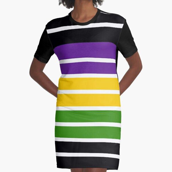 Mardis Gras Colors Graphic T-Shirt Dress
