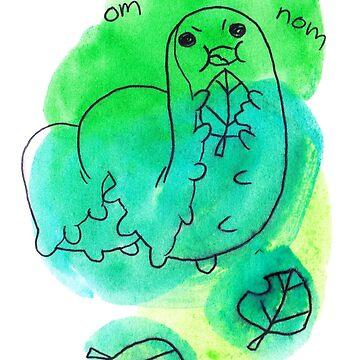Om Nom Nom Hungry Watercolor Caterpillar de SaradaBoru