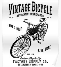VINTAGE BICYCLE AUTHENTIC SPAREPARTS FACTORY SUPPLY CO. T-SHIRT   Poster