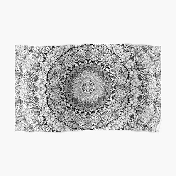 Mandala Project 632   Black and White Poster