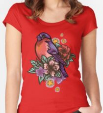 Bullfinch Floral Pattern Women's Fitted Scoop T-Shirt