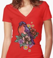 Bullfinch Floral Pattern Fitted V-Neck T-Shirt