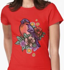 Bullfinch Floral Pattern Women's Fitted T-Shirt