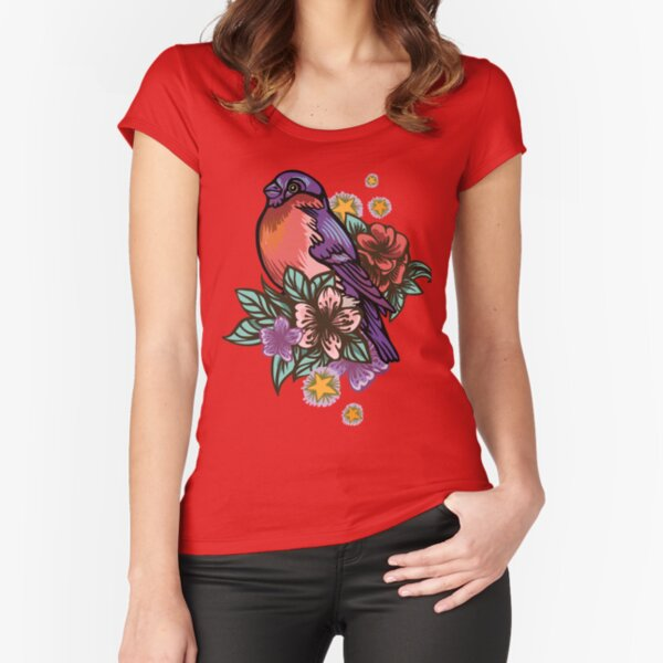 Bullfinch Floral Pattern Fitted Scoop T-Shirt