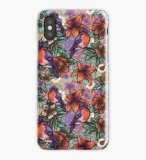 Bullfinch Floral Pattern iPhone Case