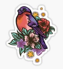 Bullfinch Floral Pattern Sticker