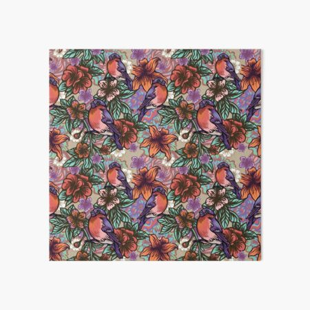 Bullfinch Floral Pattern Art Board Print