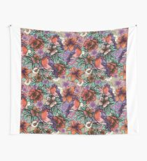 Bullfinch Floral Pattern Wall Tapestry