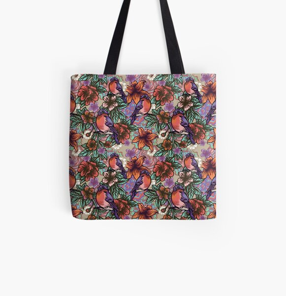 Bullfinch Floral Pattern All Over Print Tote Bag