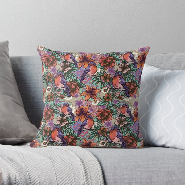 Bullfinch Floral Pattern Throw Pillow