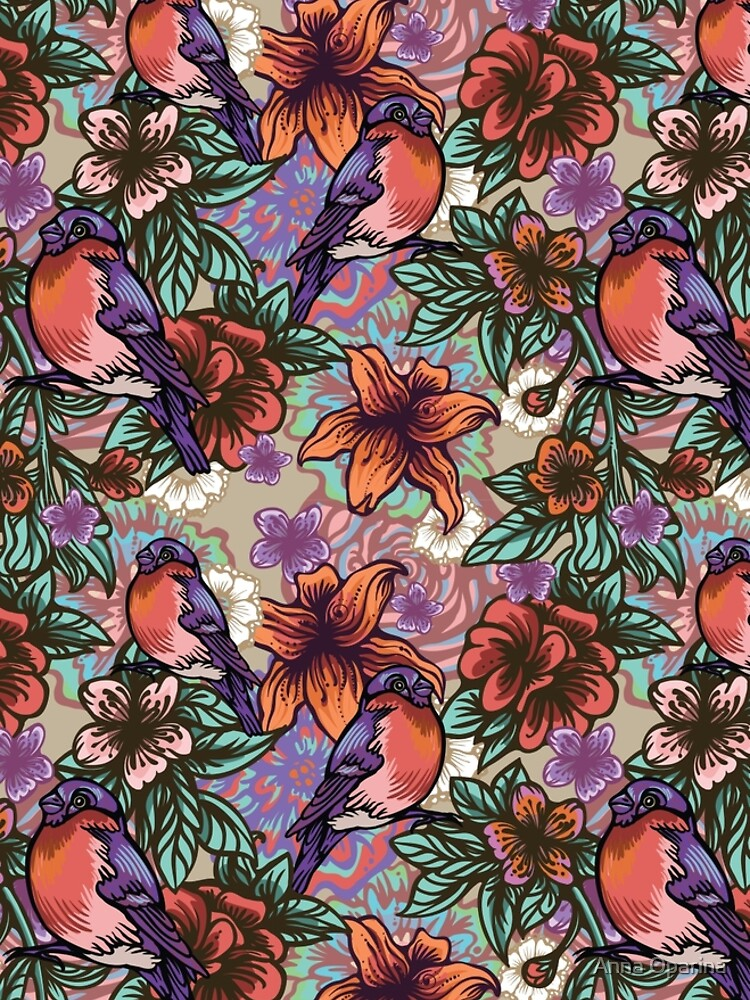 Bullfinch Floral Pattern by Oparina