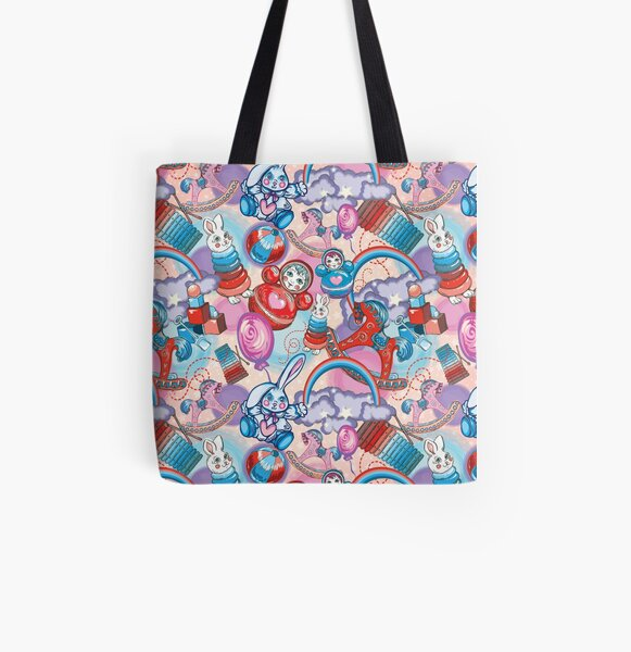 Children's Toys Colorful Cute Pattern and Illustration All Over Print Tote Bag