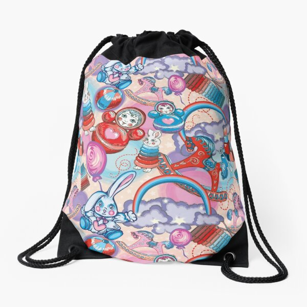 Children's Toys Colorful Cute Pattern and Illustration Drawstring Bag