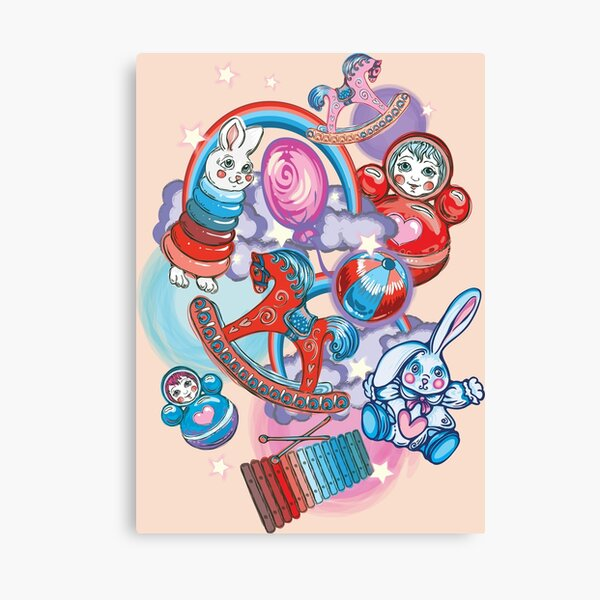 Children's Toys Colorful Cute Pattern and Illustration Canvas Print