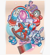 Children's Toys Colorful Cute Pattern and Illustration Poster