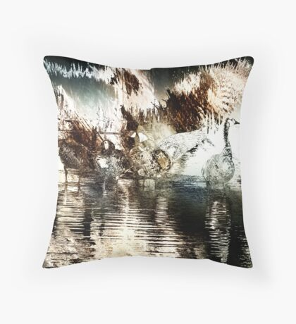 Canada Geese Abstract Throw Pillow